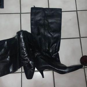 Zara Snakeskin Print Leather Boots